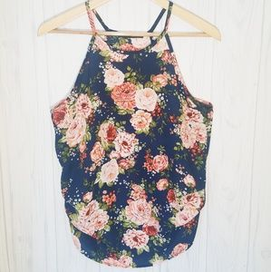 Floral Print Sleeveless Ruched Blouse